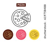 pizza icon fast food logo.... | Shutterstock .eps vector #619758488