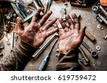 a picture of dirty hands of a... | Shutterstock . vector #619759472