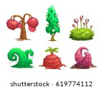 fantasy tree set. vector... | Shutterstock .eps vector #619774112
