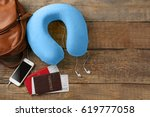 travel pillow and things for... | Shutterstock . vector #619777058