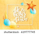 vector hand lettering summer... | Shutterstock .eps vector #619777745