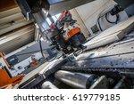 aluminium cutting machine. this ... | Shutterstock . vector #619779185
