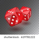 red dices on transparent... | Shutterstock .eps vector #619781222