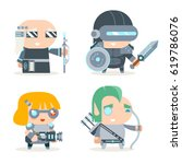 sci fi fantasy techno knight... | Shutterstock .eps vector #619786076