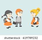 back to school. group happy...   Shutterstock .eps vector #619789232