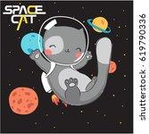 Stock vector cute cat illustration 619790336