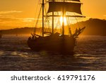 Silhouette Of Old Ship With...
