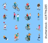 disabled persons isometric set... | Shutterstock .eps vector #619796285