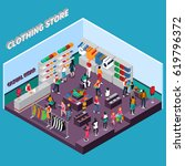 clothing store isometric... | Shutterstock .eps vector #619796372