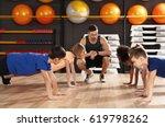 children at physical education...   Shutterstock . vector #619798262