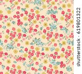 seamless vintage pattern in... | Shutterstock . vector #619801322