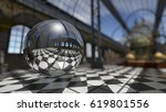 surreal sphere in steampunk... | Shutterstock . vector #619801556