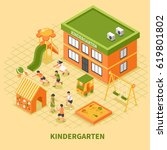 kindergarten building isometric ... | Shutterstock .eps vector #619801802