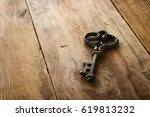 image of antique key on old... | Shutterstock . vector #619813232