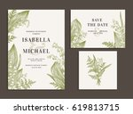vintage wedding set with spring ... | Shutterstock .eps vector #619813715