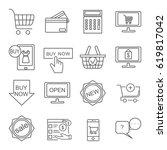 set of online shopping related... | Shutterstock .eps vector #619817042