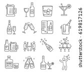 set of alcohol related vector... | Shutterstock .eps vector #619817126