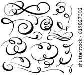 set of hand drawn calligraphic... | Shutterstock .eps vector #619827302