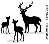 deer family silhouette black on ... | Shutterstock .eps vector #619829015
