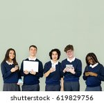 group of diverse students using ... | Shutterstock . vector #619829756