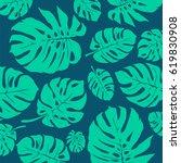 green and blue monstera... | Shutterstock .eps vector #619830908