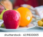 plate of apple  orange  and pear | Shutterstock . vector #619833005