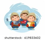 cartoon chukchi with food and...