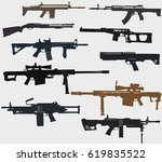 weapons set  rifles  machine... | Shutterstock .eps vector #619835522