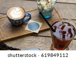 hot and cold drinks stand on a... | Shutterstock . vector #619849112