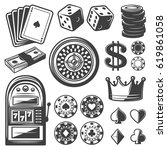 Vintage casino elements set with playing cards dice chips roulette wheel crown money slot machine isolated vector illustration - stock vector