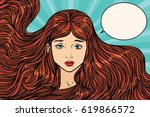 sad young woman with long... | Shutterstock .eps vector #619866572