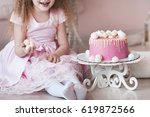 kid girl 4 5 year old eating... | Shutterstock . vector #619872566
