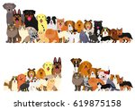 Stock vector border of dogs and cats arranged in order of height 619875158