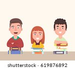 happy group students. cheerful... | Shutterstock .eps vector #619876892