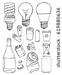 sketch of recyclable materials. ...   Shutterstock .eps vector #619880636