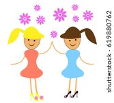 Two Girls Dancing With Flowers...