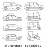 trendy linear transport icons... | Shutterstock . vector #619880912