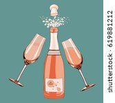 champagne bottle opened with... | Shutterstock .eps vector #619881212
