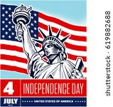statue of liberty  usa flag  nyc   Shutterstock .eps vector #619882688