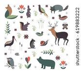 vector set of forest animals... | Shutterstock .eps vector #619883222