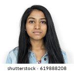 young woman serious studio... | Shutterstock . vector #619888208