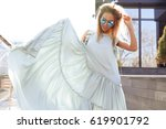 beautiful young fashionable... | Shutterstock . vector #619901792