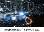 dot flying network touched by... | Shutterstock . vector #619907132