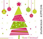 christmas tree with ornaments ... | Shutterstock .eps vector #61991146