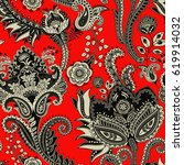 paisley floral seamless pattern.... | Shutterstock .eps vector #619914032