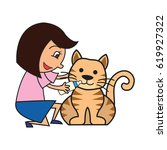 animal care concept  love ... | Shutterstock .eps vector #619927322