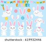 happy easter bunnies   Shutterstock .eps vector #619932446