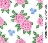seamless pattern with roses and ...   Shutterstock .eps vector #619934906
