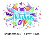 print with stylized summer... | Shutterstock .eps vector #619947536