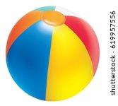 realictic vector beach ball | Shutterstock .eps vector #619957556
